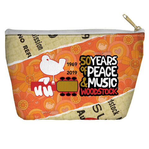 Woodstock 50 Year Ticket Accessory Pouch Spun Polyester tapered bottom