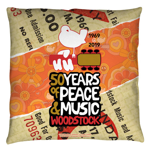 Woodstock 50 Year Ticket Throw Pillow