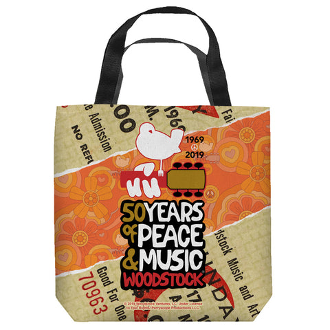 Woodstock 50 Year Ticket Tote Bag Spun Polyester
