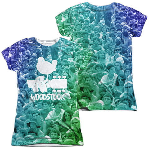Woodstock 50 Years Crowd (Front/Back Print) Junior's Poly Cap-Sleeve T
