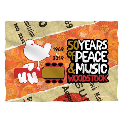 Woodstock 50 Years Ticket (Front/Back Print) Polyester Pillow Case