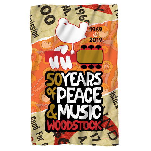 Woodstock 50 Years Ticket Polyester Fleece Blanket
