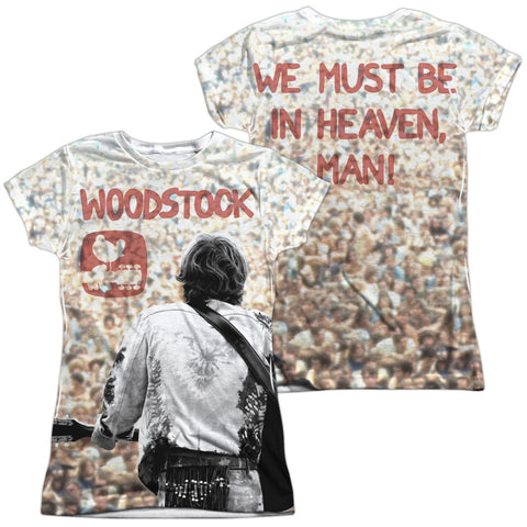 Woodstock Special Order Apart From The Crowd (Front/Back Print) Junior's 100% Polyester Cap-Sleeve T-Shirt
