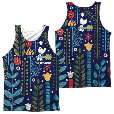 Woodstock Floral (Front/Back Print) Men's Regular Fit Polyester Tank Top