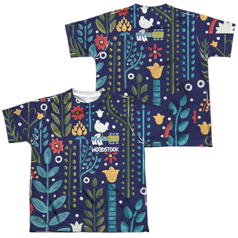 Woodstock Floral (Front/Back Print) Youth Regular Fit Poly SS T