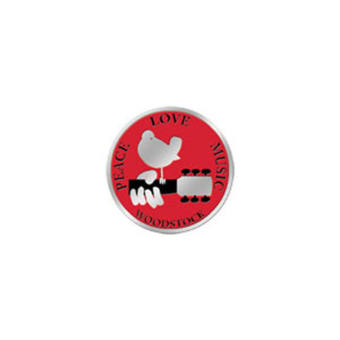 Woodstock Peace Love Music 3cm Silver Metal Sticker