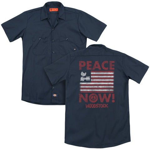 Woodstock Special Order Peace Now(Back Print) Men's 35% Cotton 65% Poly Short-Sleeve Work Shirt