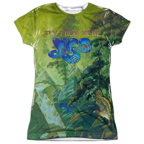 Yes Special Order Fly From Here Junior's 100% Polyester Cap-Sleeve T-Shirt