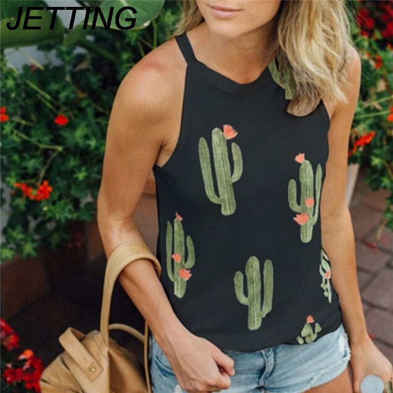 Sexy T-Shirt Sleeveless Print Green Plant Cactus Women Top Tees Casual