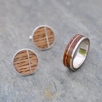 Bourbon barrel wood ring and cufflinks. Whiskey barrel ring and wood cufflinks.  Matching set wooden ring and cufflinks.