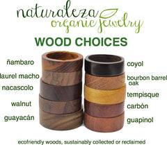 Naturaleza Organic Jewelry Wood Choices for Wood Rings