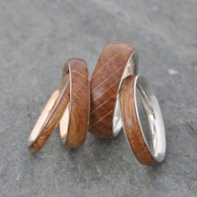 Bourbon Barrel and Recycled Sterling Silver Band Ring for Men Wood Rings with Silver