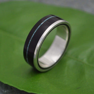 Turquoise Wood Ring, Un Lado Asi Coyol Turquoise - Naturaleza Organic Jewelry & Wood Rings