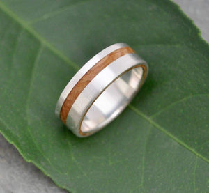 White Gold Equinox Kentucky Bourbon Barrel Wood Wedding Ring - Naturaleza Organic Jewelry & Wood Rings