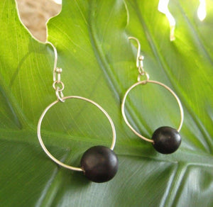 Fiesta Earrings - recycled sterling silver hoops with black patacon seed circle earrings black earrings Earrings