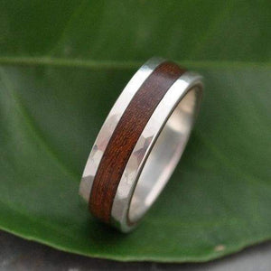 Hammered Lados Nacascolo Wood Ring with Recycled Sterling Silver - Naturaleza Organic Jewelry & Wood Rings