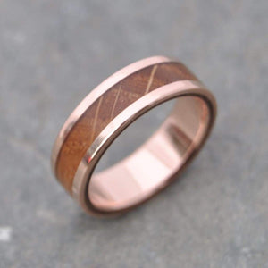 Rose Gold Bourbon Barrel Wood Wedding Ring, Lados - Naturaleza Organic Jewelry & Wood Rings