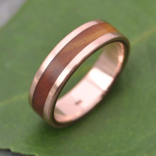 Rose Gold Lingum Vitae Wood Wedding Band, Lados Guayacán Wood Ring - Naturaleza Organic Jewelry & Wood Rings