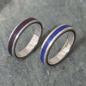 Lados Lapiz Azul Recycled Sterling Silver, Stone and Wood Ring - Naturaleza Organic Jewelry & Wood Rings