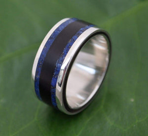 Lapis Lazuli Inlay Wood Ring with Recycled Sterling Silver, Lados Lapiz Azul - Naturaleza Organic Jewelry & Wood Rings