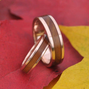 Rose Gold and Silver Wood Wedding Band, Lados Nacascolo - Naturaleza Organic Jewelry & Wood Rings