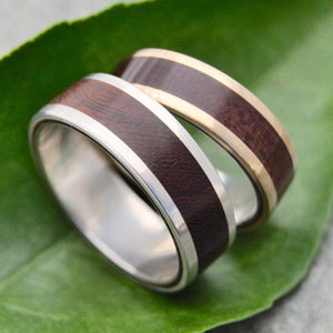 White Gold Lados Nacascolo Wood Wedding Band - Naturaleza Organic Jewelry & Wood Rings