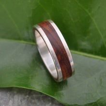 White Gold Cocobolo Wood Wedding Band, Lados Nambaro Wood Ring - Naturaleza Organic Jewelry & Wood Rings