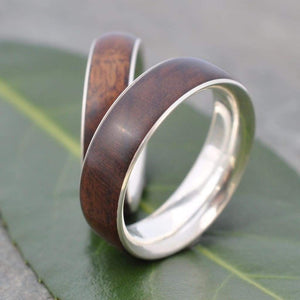 Wooden Wedding Ring With Recycled Sterling Silver , Laurel Macho Siempre - Naturaleza Organic Jewelry & Wood Rings
