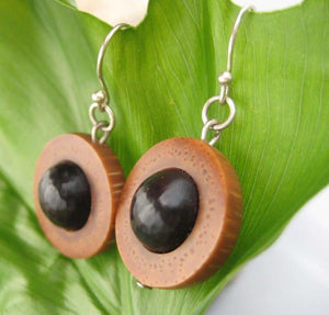 Maridos Earrings, Palm Tree Seed Earrings - Naturaleza Organic Jewelry & Wood Rings
