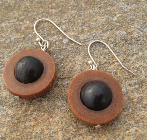 Maridos - organic palm and patcon seed earrings Earrings