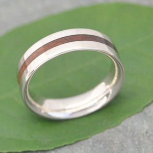 Nacascolo Wood Wedding Band with Recycled Sterling Silver, Meridian - Naturaleza Organic Jewelry & Wood Rings