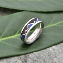 Mountain Range Lapiz Wood Ring, Lapis Lazuli Mountain Inlay Ring - Naturaleza Organic Jewelry & Wood Rings