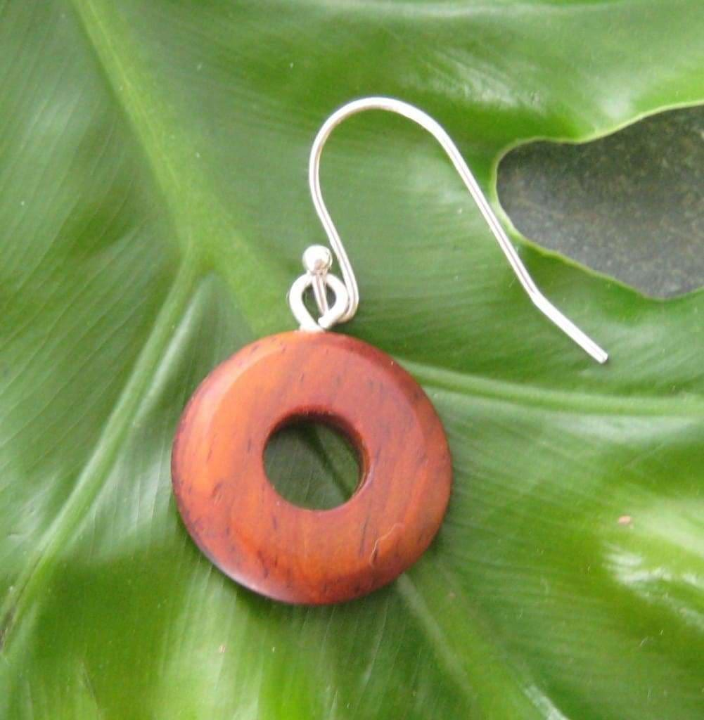 Nambaro Circle Earrings - sustainable cocobolo wood circle earrings - Naturaleza Organic Jewelry & Wood Rings
