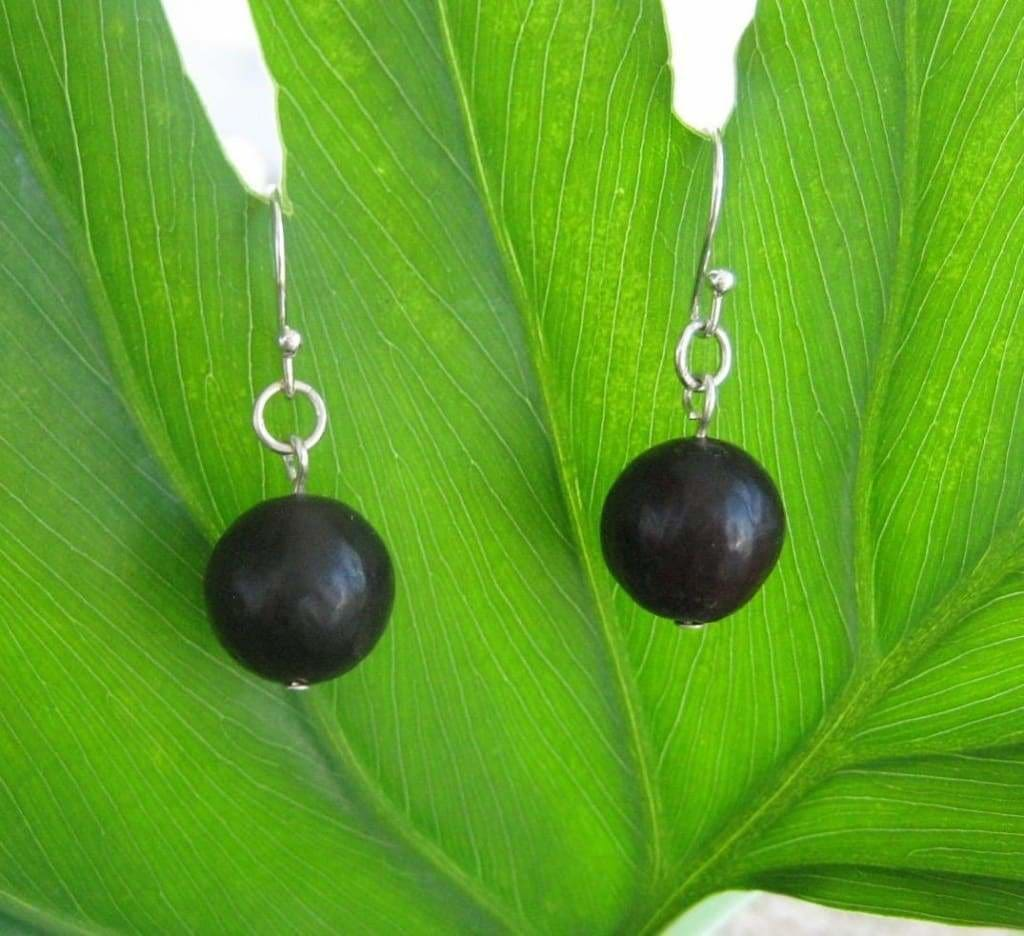 Noche Negra Earrings, Organic Black Patacon Seed Earrings - Naturaleza Organic Jewelry & Wood Rings