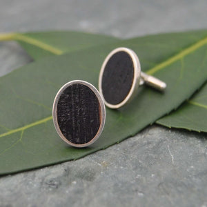 Oval Charred Bourbon Barrel Cufflinks in Sterling Silver, Whiskey Barrel Cufflinks - Naturaleza Organic Jewelry & Wood Rings