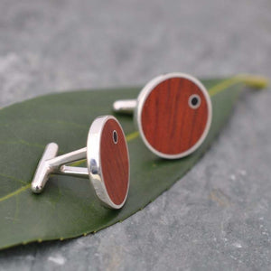 Punto Rosewood Cufflinks with Coyol Circle Inlay Cuff Links