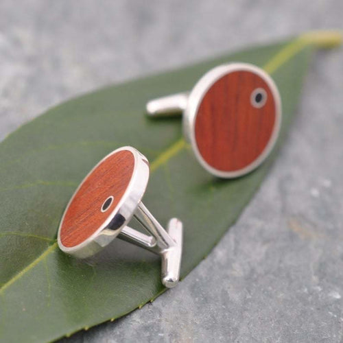 Punto Rosewood Cufflinks with Coyol Circle Inlay - Naturaleza Organic Jewelry & Wood Rings
