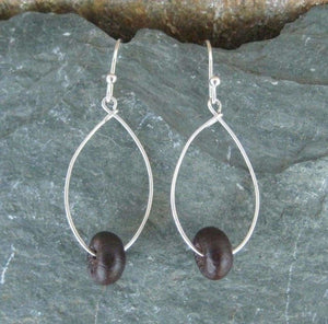 Redonda - sterling silver and palma seed hoop earrings - Naturaleza Organic Jewelry & Wood Rings