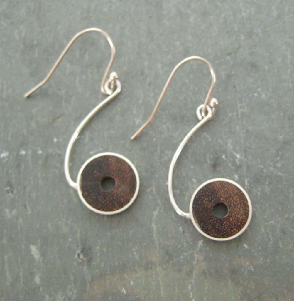 Salsera Earrings, Sterling Silver and Palm Tree Seed - Naturaleza Organic Jewelry & Wood Rings