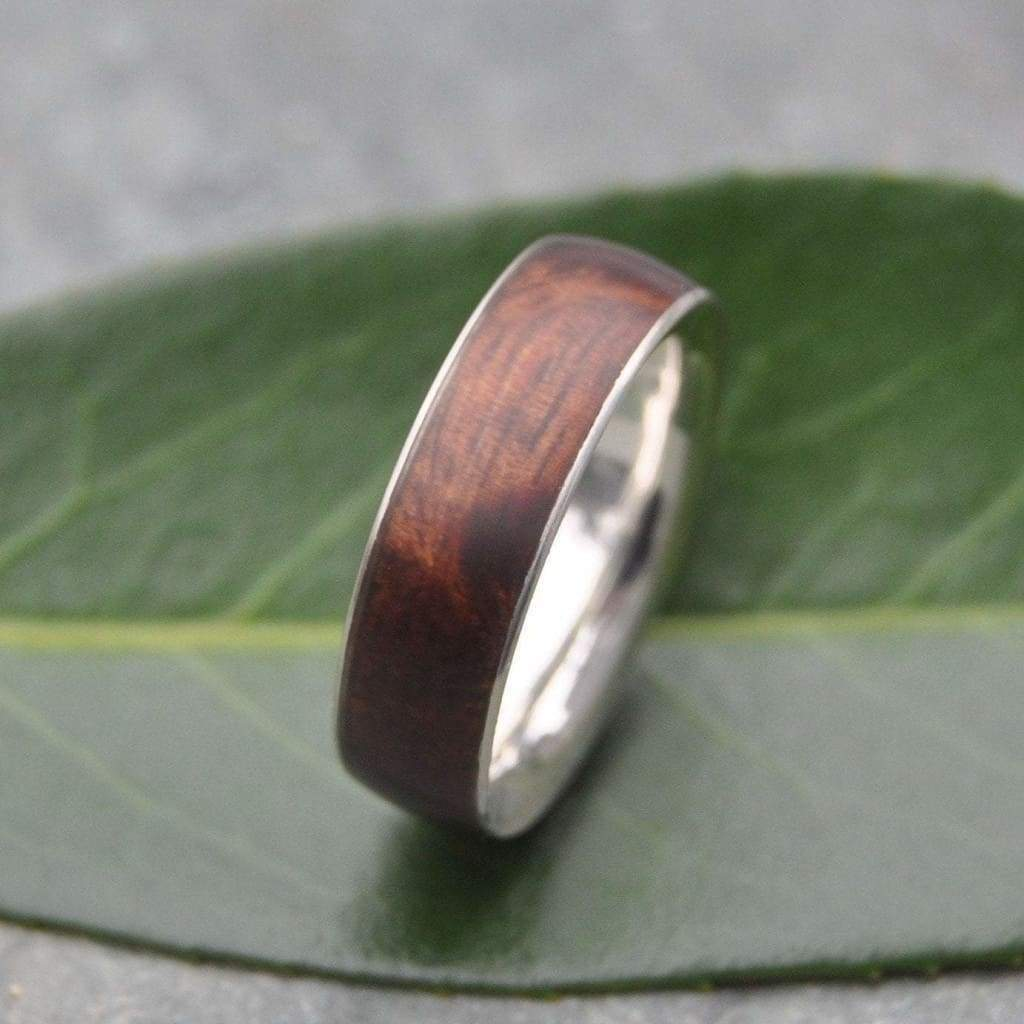 White Gold Koa Wood Wedding Band, Comfort Fit Wood Ring, Siempre Wood RIng - Naturaleza Organic Jewelry & Wood Rings