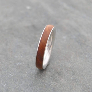 Lignum Vitae Wood Ring, Sterling Silver Comfort Fit Siempre - Naturaleza Organic Jewelry & Wood Rings