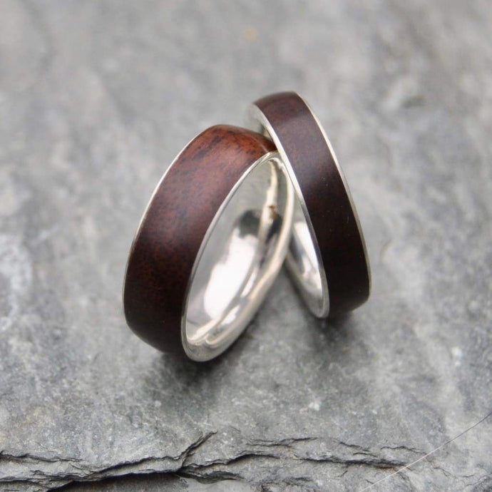 Walnut Wooden Ring, Wide Band Comfort Fit Siempre - Naturaleza Organic Jewelry & Wood Rings