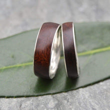 White Gold Walnut Wood Wedding Band, Comfort Fit, Siempre Wood Ring - Naturaleza Organic Jewelry & Wood Rings