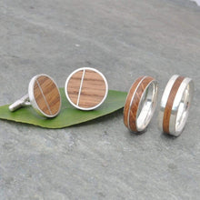 Bourbon Barrel Solsticio Cufflinks - Naturaleza Organic Jewelry & Wood Rings