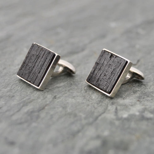 Square Charred Bourbon Barrel Cufflinks in Sterling Silver, Square Whiskey Barrel Cufflinks - Naturaleza Organic Jewelry & Wood Rings