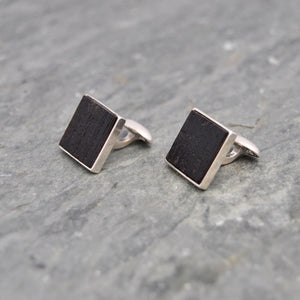 Square Charred Bourbon Barrel Cufflinks in Sterling Silver Square Whiskey Barrel Cufflinks Cuff Links