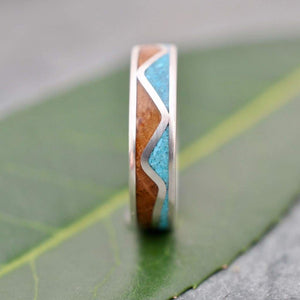 Turquoise Mountain Range Wood Ring, Turquoise and Bourbon Barrel Ring - Naturaleza Organic Jewelry & Wood Rings