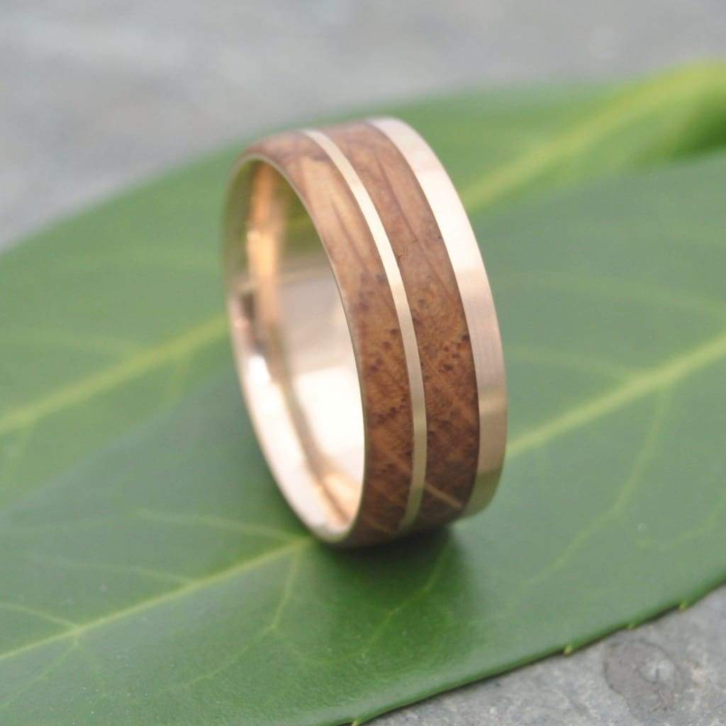 Yellow Gold Bourbon Barrel Wedding Ring, Un Lado Asi Wood Ring - Naturaleza Organic Jewelry & Wood Rings