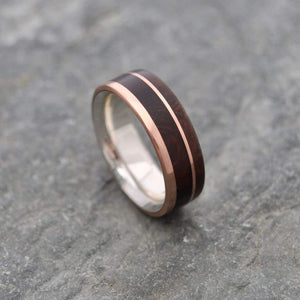 Rose Gold and Silver Wooden Wedding Ring, Un Lado Asi Nacascolo Comfort Fit - Naturaleza Organic Jewelry & Wood Rings