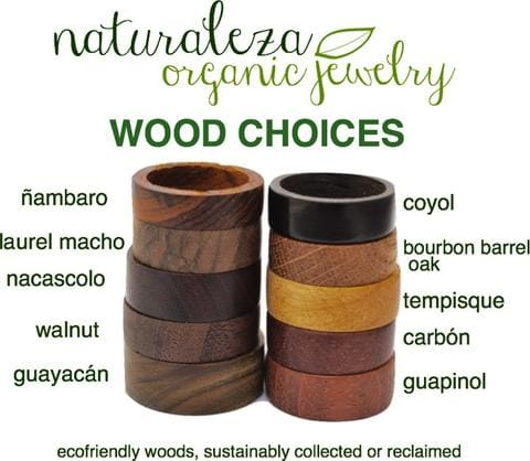 Naturaleza Organic Jewelry Wood Choices